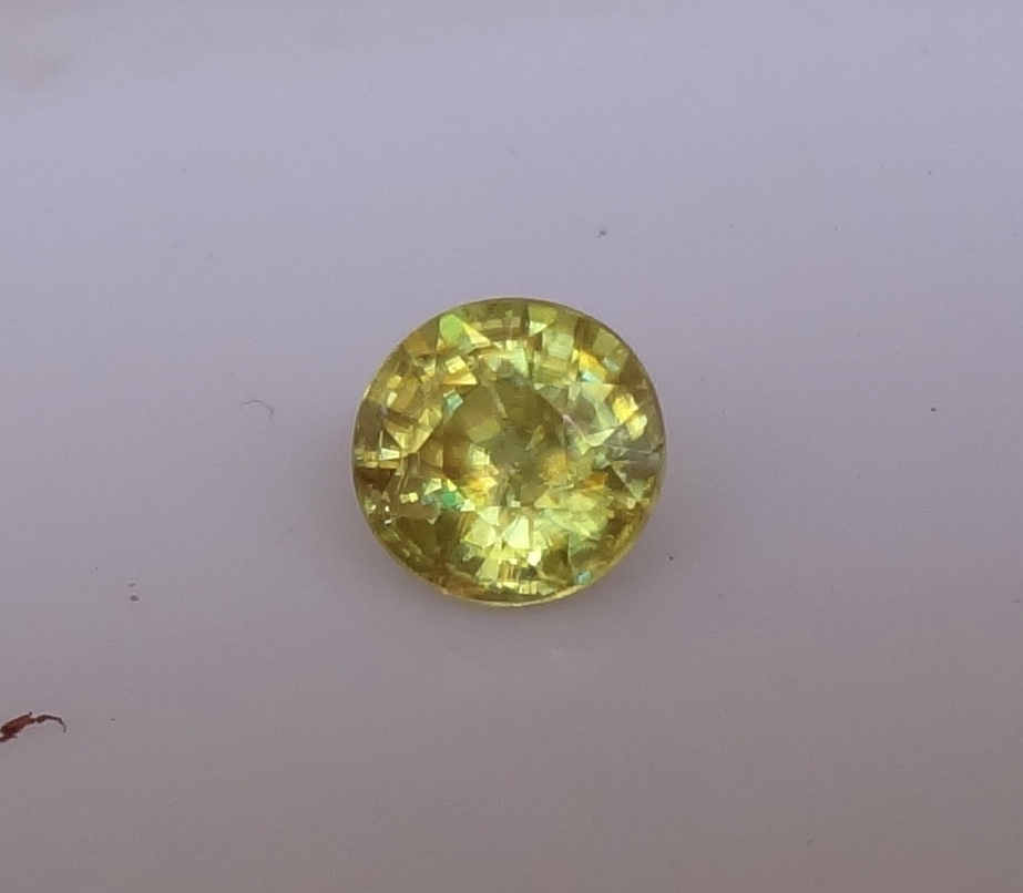 Round cut yellow Sphene from Madagascar.