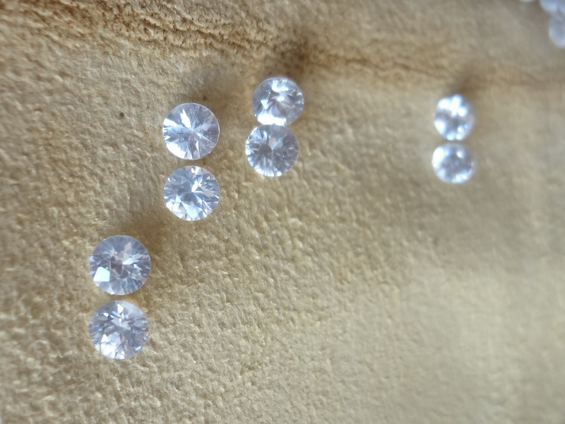 Diamond cut white Zircon from Cambodia
