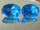 Large Calibrated Pair of Swiss Blue Topaz of 45 Carats.